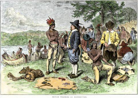 マンハッタン島を買うオランダ商人