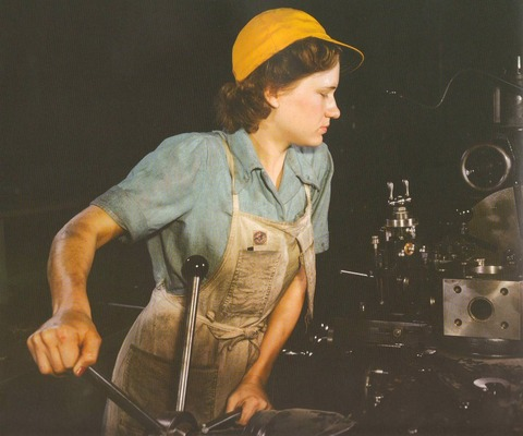 american lady at factory